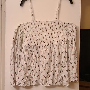 Feather tank top with sleeve